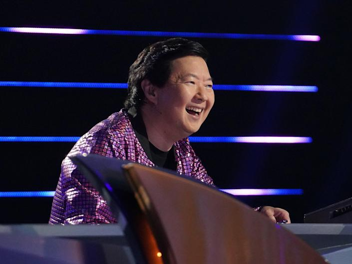 """Ken Jeong on """"The Masked Singer."""" He wears a sparkly purple jacket."""