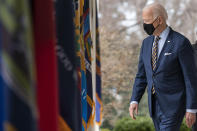 FILE - In this March 12, 2021, file photo President Joe Biden walks on the Colonnade to speak about the American Rescue Plan, a coronavirus relief package, in the Rose Garden of the White House in Washington. (AP Photo/Alex Brandon, File)