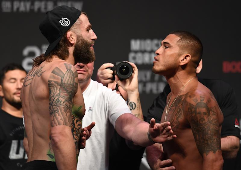 LAS VEGAS, NV - JULY 06: (L-R) Opponents Michael Chiesa and Anthony Pettis face off during the UFC 226 weigh-in inside T-Mobile Arena on July 6, 2018 in Las Vegas, Nevada. (Photo by Josh Hedges/Zuffa LLC/Zuffa LLC via Getty Images)