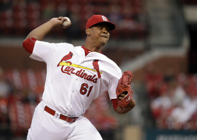 "<a class=""link rapid-noclick-resp"" href=""/mlb/players/9892/"" data-ylk=""slk:Alex Reyes"">Alex Reyes</a> struck out 13 straight batters in his final rehab start, setting a record and declaring that he's definitely ready to rejoin the <a class=""link rapid-noclick-resp"" href=""/mlb/teams/stl"" data-ylk=""slk:Cardinals"">Cardinals</a> rotation. (AP Photo/Jeff Roberson, File)"