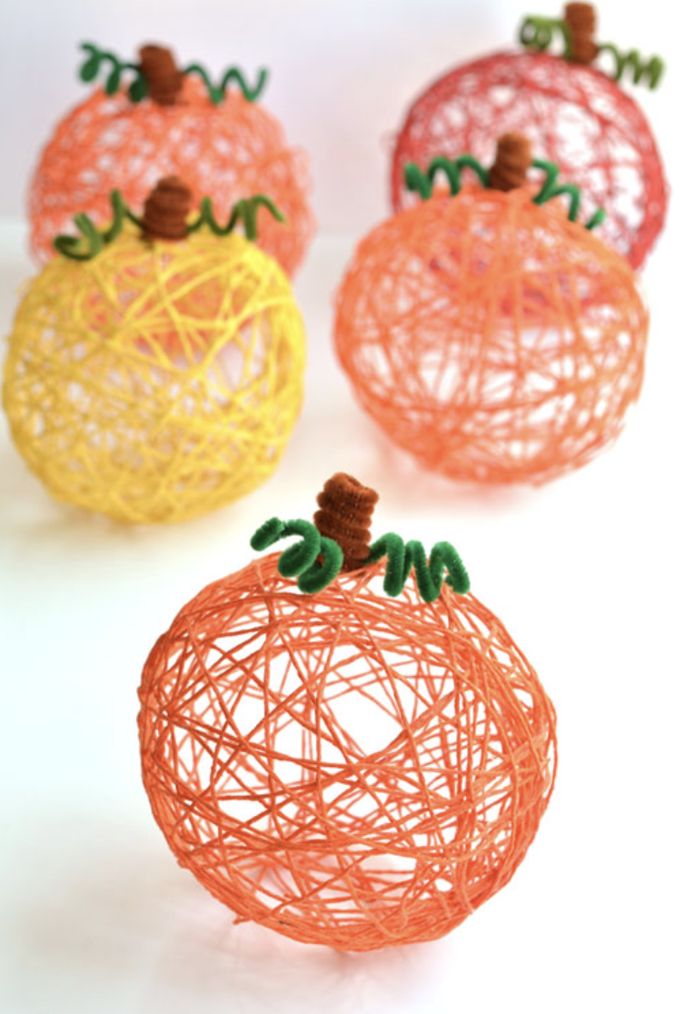 "<p>Yarn pumpkins add an abstract look to otherwise basic decor, and this craft is so simple you can get the kids in your family involved. You'll use colorful yarn dipped in liquid glue, then form them into a sphere shape by placing them around something round to dry—<a href=""https://onelittleproject.com/yarn-pumpkins/"" rel=""nofollow noopener"" target=""_blank"" data-ylk=""slk:One Little Project"" class=""link rapid-noclick-resp"">One Little Project</a> used balloons. </p><p><a class=""link rapid-noclick-resp"" href=""https://go.redirectingat.com?id=74968X1596630&url=https%3A%2F%2Fwww.michaels.com%2Fimpeccable-yarn-solid%2F10272468.html&sref=https%3A%2F%2Fwww.delish.com%2Fholiday-recipes%2Fthanksgiving%2Fg33808794%2Fthanksgiving-decorations%2F"" rel=""nofollow noopener"" target=""_blank"" data-ylk=""slk:BUY NOW"">BUY NOW</a> <em><strong>Orange yarn, $3.49</strong></em></p>"