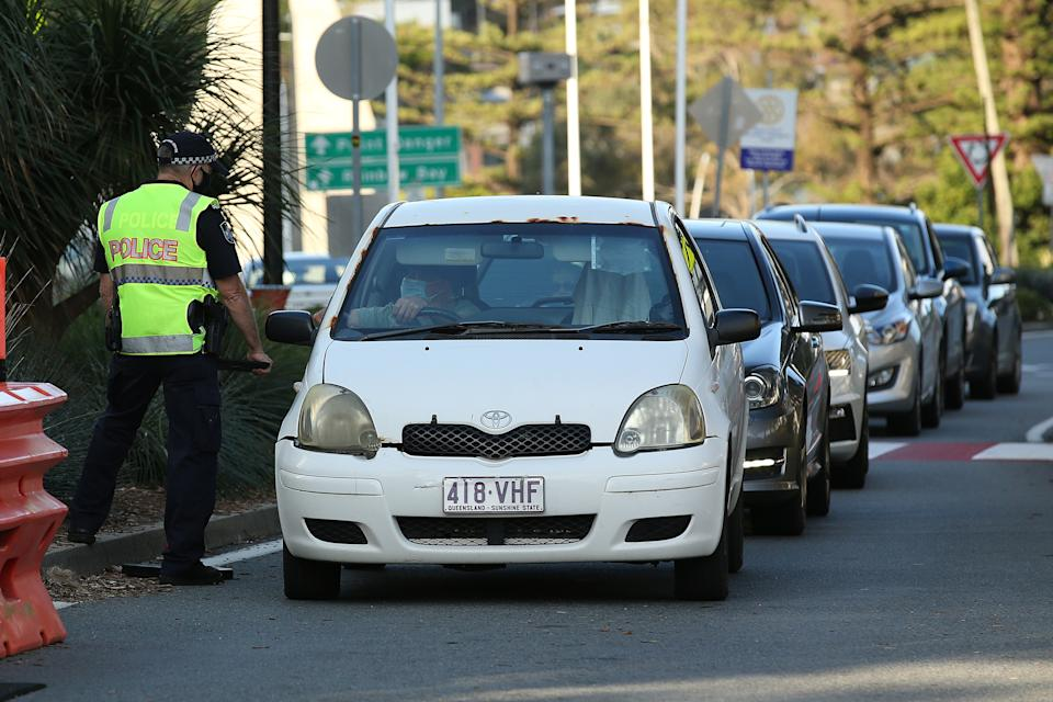 Police check cars at the Queensland-NSW border in September during the Covid pandemic.