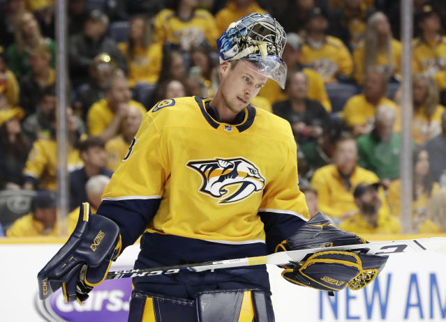 Nashville Predators goaltender Pekka Rinne, of Finland, skates back to the net during a stop in play during the first period in Game 5 of an NHL hockey first-round playoff series against the Dallas Stars, Saturday, April 20, 2019, in Nashville, Tenn. (AP Photo/Mark Humphrey)