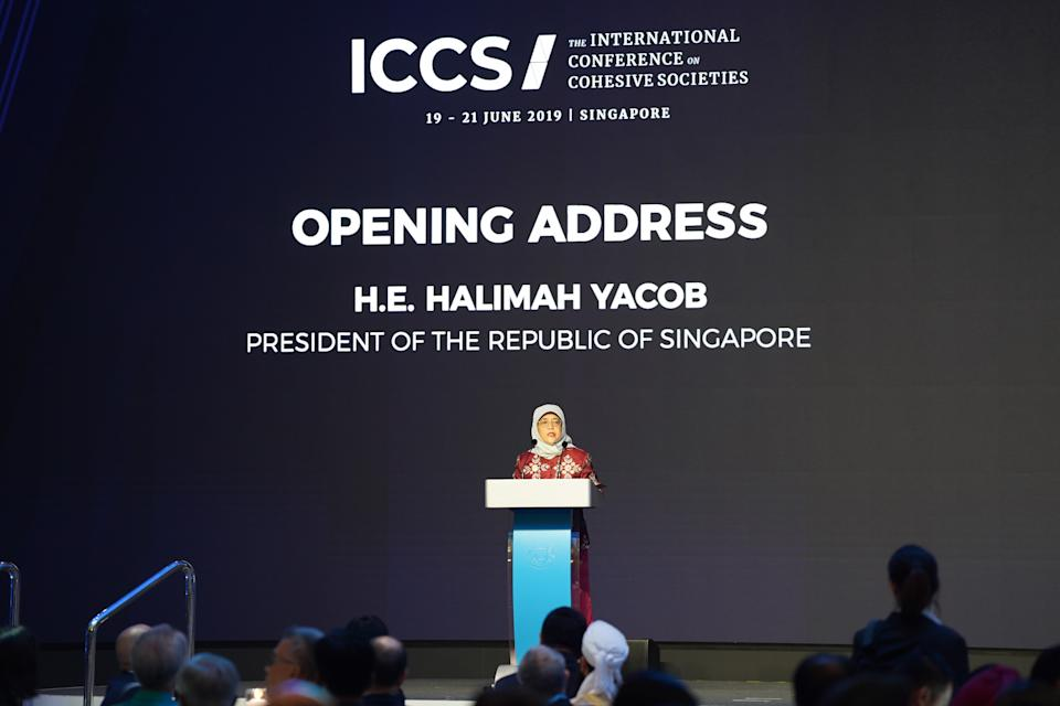 Singapore President Halimah Yacob giving her opening address at the International Conference on Cohesive Societies at Raffles City Convention Centre. (PHOTO: International Conference on Cohesive Societies)