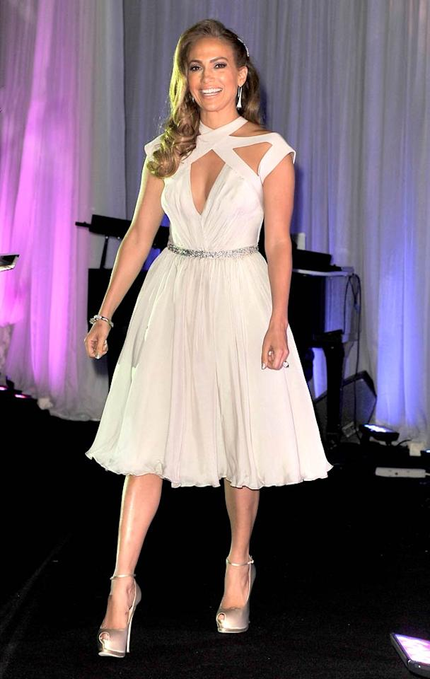 """The """"On the Floor"""" singer presented a second, equally-stunning look this week when she hit the stage at the 20th Anniversary ICON Awards in a refreshingly feminine Georges Hobeika dress and satin stilettos. Jerod Harris/<a href=""""http://www.gettyimages.com/"""" target=""""new"""">GettyImages.com</a> - June 4, 2011"""