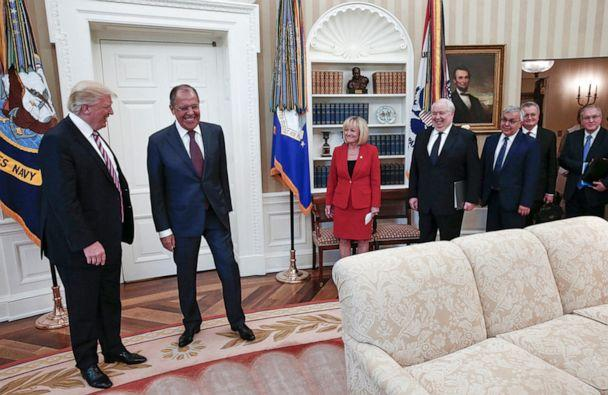 PHOTO:President Donald Trump meets with Russian Foreign Minister Sergey Lavrov, second left, at the White House in Washington, May 10, 2017. Trump welcomed Vladimir Putin's top diplomat to the White House. (Russian Foreign Ministry Photo via AP Photo)