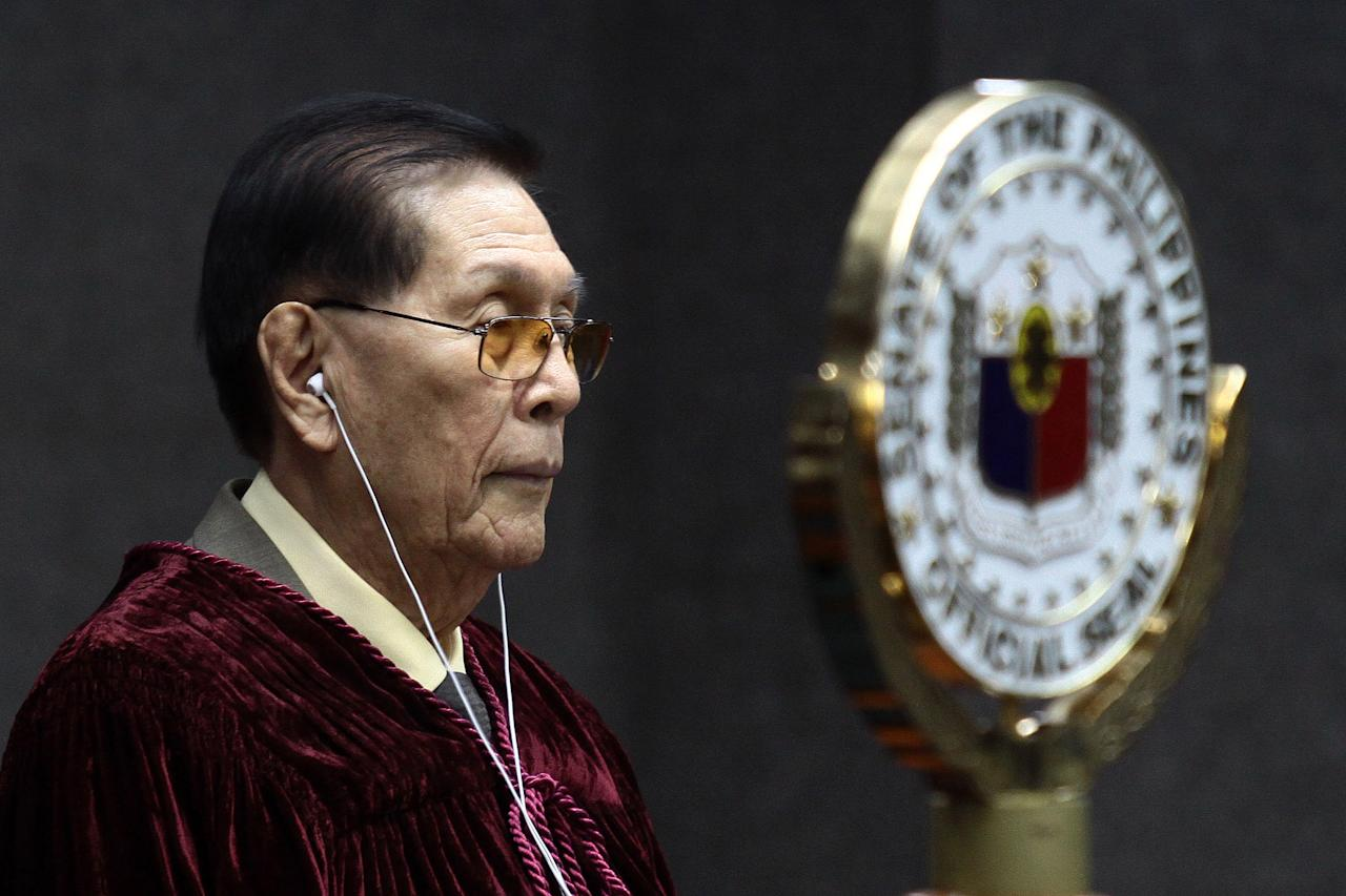 Enrile: A story of respect and ouster. Senate President Juan Ponce Enrile also commanded attention this year for protecting Senate's legal integrity against lawmakers and private lawyers who tried using the impeachment court for publicity. Despite guiding senators towards organized impeachment proceedings until May, Enrile continued to face several rehashed attempts to oust him as the highest Senate official since September. Enrile, who was called a revisionist for allegedly rewriting history to suit his own purposes in his book late in September, also drew flak for defending Senator Vicente 'Tito' Sotto III against his critics. But while Enrile, who aided Sotto against critics as 'ignorant of the Philippine Constitution,' the Senate president verbally assaulted neophyte Senator Antonio 'Sonny' Trillanes IV. He  became Trillanes's  worst nightmare after the former Navy junior officer accused him of being former President Gloria Macapagal Arroyo's lackey. (Photo by NPPA Images)