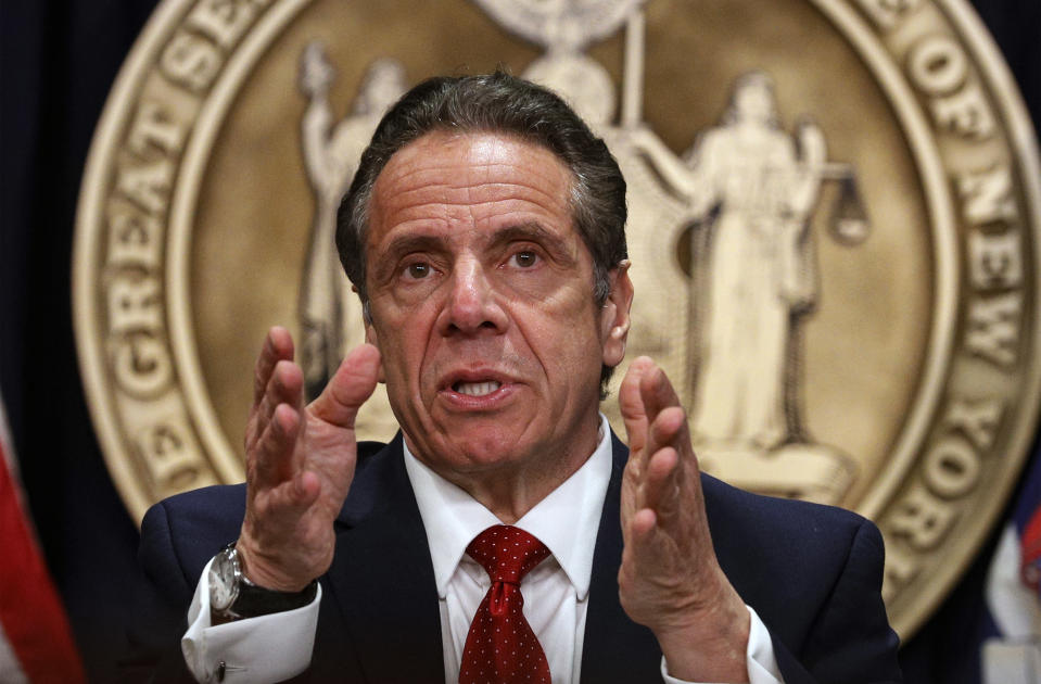 New York Gov. Andrew Cuomo speaks during a news conference at his offices, Wednesday, March 24, 2021, in New York. (Brendan McDermid/Pool Photo via AP)