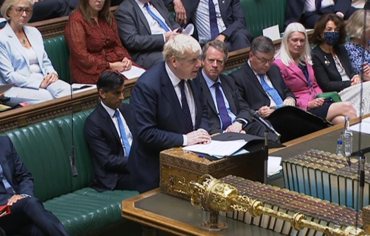 Prime Minister Boris Johnson speaking in the House of Commons, Westminster, where he has announced a 1.25 percent increase in National Insurance from April 2022 to address the funding crisis in the health and social care system.