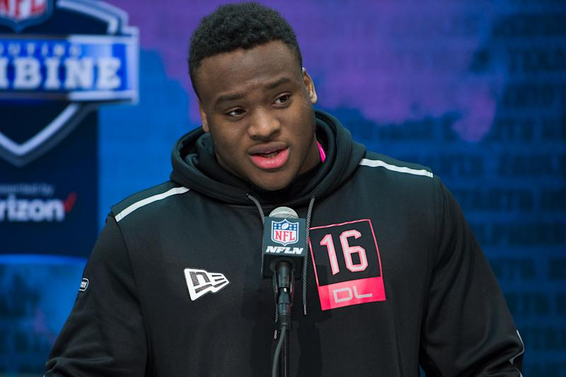 Texas A&M DL Justin Madubuike looks like a top-50 pick. (Photo by Zach Bolinger/Icon Sportswire via Getty Images)