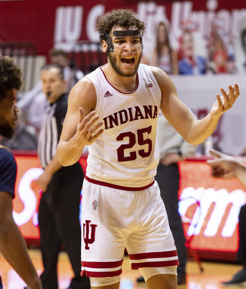 Indiana forward Race Thompson (25) reacts to a call by a game official during the second half of an NCAA college basketball game against Michigan, Saturday, Feb. 27, 2021, in Bloomington, Ind. (AP Photo/Doug McSchooler)