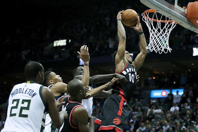 <p>DeMar DeRozan had another all-star season with the Raptors, punctuated by an epic slam late in Toronto's Game 6 win over the Milwaukee Bucks to send the Raptors to the second round, where they were swept by the Cavaliers. (Photo by Dylan Buell/Getty Images) </p>