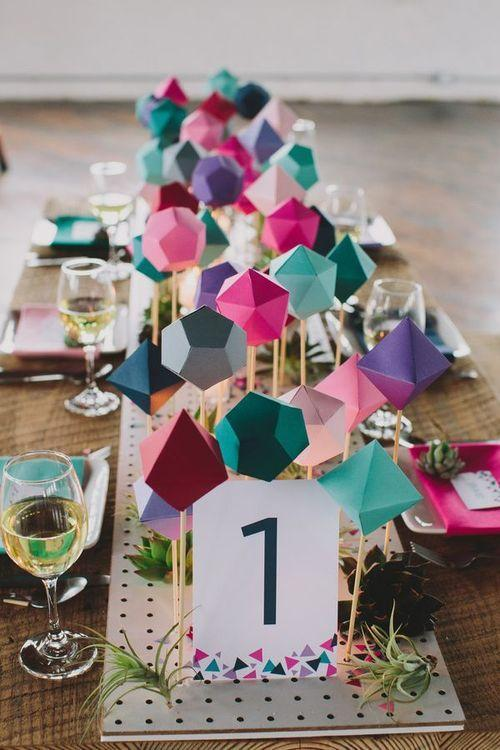 colorful geometric paper gem centerpieces