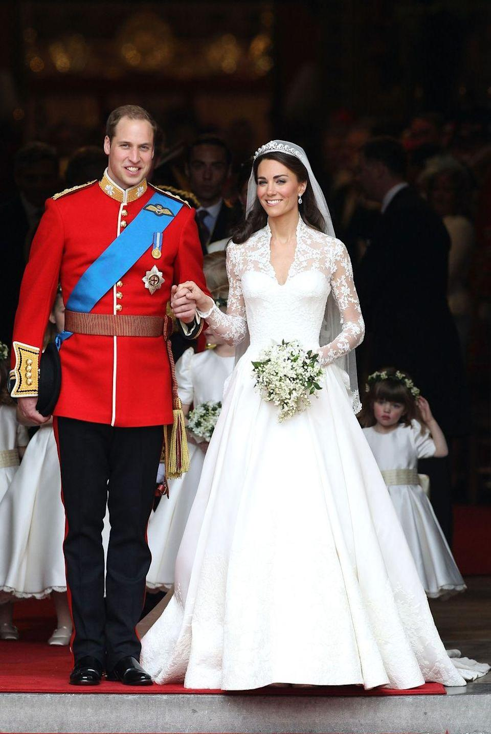 "<p><a href=""https://www.townandcountrymag.com/society/tradition/a13989870/meghan-markle-bridesmaid-kate-middleton/"" rel=""nofollow noopener"" target=""_blank"" data-ylk=""slk:Kate Middleton"" class=""link rapid-noclick-resp"">Kate Middleton</a> and Prince William held their wedding at Westminster Abbey on August 29, 2011. <a href=""https://www.townandcountrymag.com/the-scene/weddings/a20517182/kate-middleton-wedding-dress/"" rel=""nofollow noopener"" target=""_blank"" data-ylk=""slk:Duchess Kate's iconic dress, designed"" class=""link rapid-noclick-resp"">Duchess Kate's iconic dress, designed</a> by Sarah Burton for Alexander McQueen, featured Victorian-inspired corsetry, long sleeves, and a delicate lace flower collar.</p>"