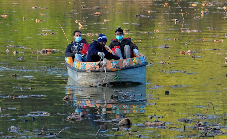 Forest department officials collect carcass of birds from Sukhna Lake on January 6, 2021 in Chandigarh, India. The Chandigarh forest and wildlife department is on alert after a dead bird was found floating in Sukhna Lake on Tuesday.  Bird flu has been confirmed in four states across India, including Himachal Pradesh, where around 1,800 migratory birds were found dead in the Pong Dam Lake sanctuary. Other states are Rajasthan, Madhya Pradesh and Kerala. (Photo by Ravi Kumar/Hindustan Times via Getty Images)
