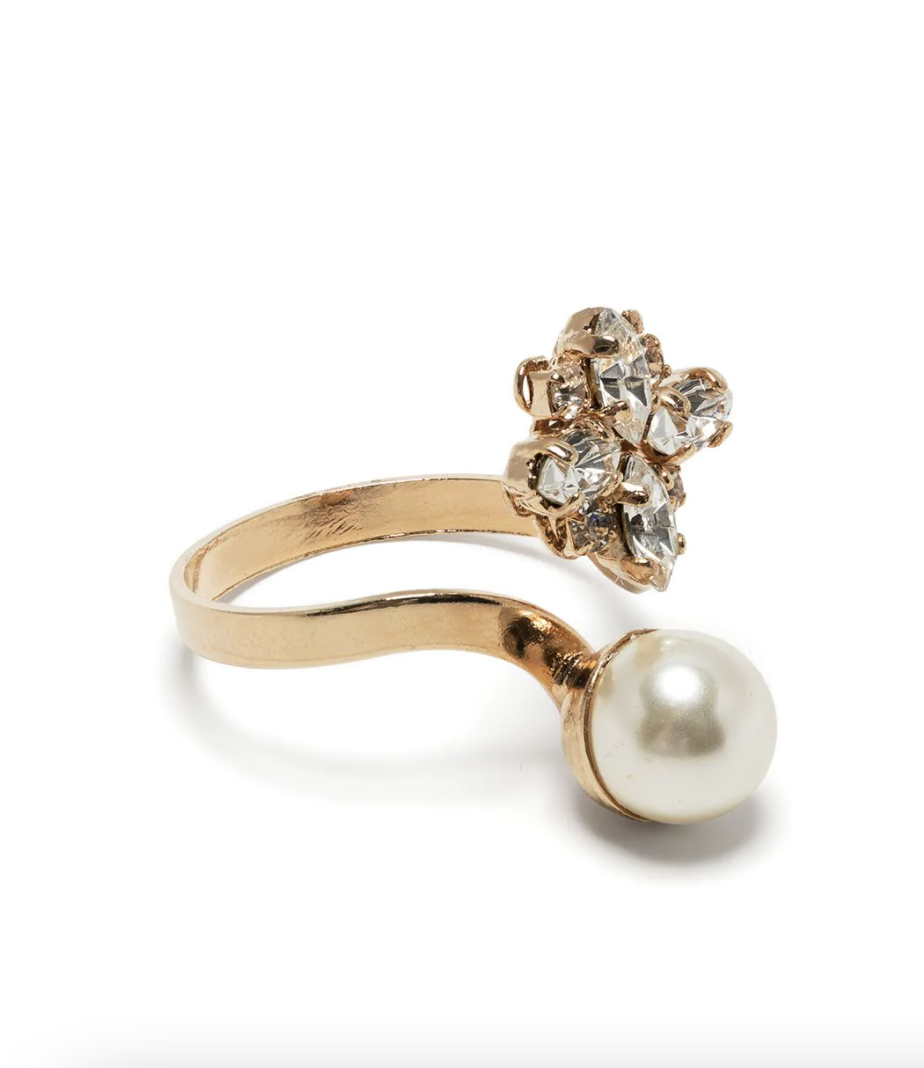 Anton Heunis Pearl and Crystal Ring with gold band