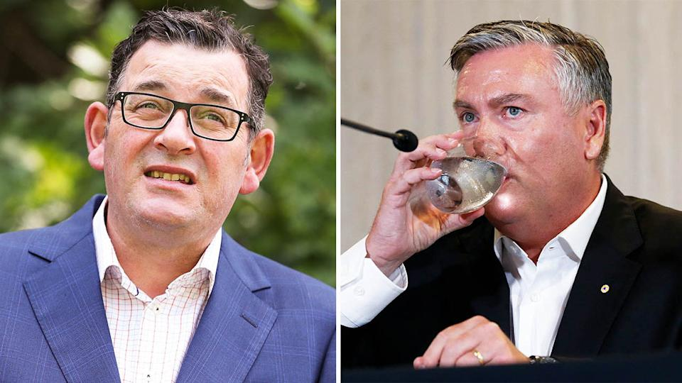 Victorian Premier Daniel Andrews (pictured left) during a press conference and Collingwood president Eddie McGuire (pictured right) drinking water during a media conference.