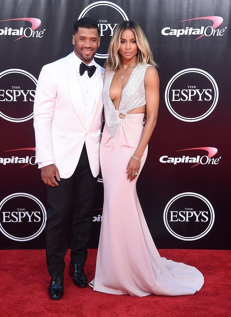 <p>Still sporting their newlywed glow, Ciara and husband Russell Wilson brought their A-game to the ESPYS. <i>(Photo by Gregg DeGuire/WireImage)</i><br></p>