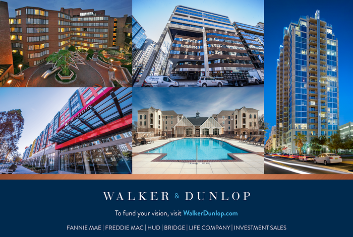Five properties pictured above the Walker & Dunlop logo and contact info.
