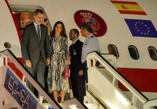 King Felipe VI of Spain and Queen Letizia arrive at Havana's Jose Marti International Airport on November 11, 2019
