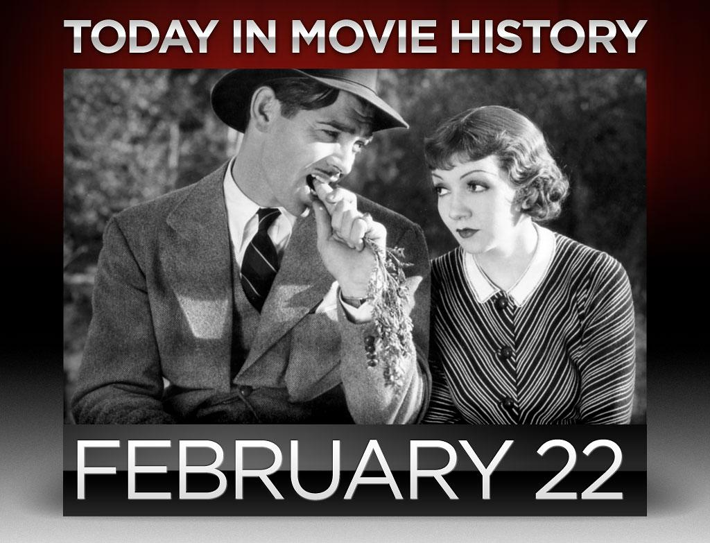 """<strong>1934</strong> – Frank Capra's """"<a href=""""http://movies.yahoo.com/movie/it-happened-one-night/"""">It Happened One Night</a>"""" premiered on this day in New York City. Starring Clark Gable and Claudette Colbert, it became the first film to win Oscars for all the major categories: Best Picture, Best Director, Best Screenplay, Best Actor, and Best Actress. Gable appears without an undershirt during one famous scene, which caused undershirt sales to plummet throughout the United States."""