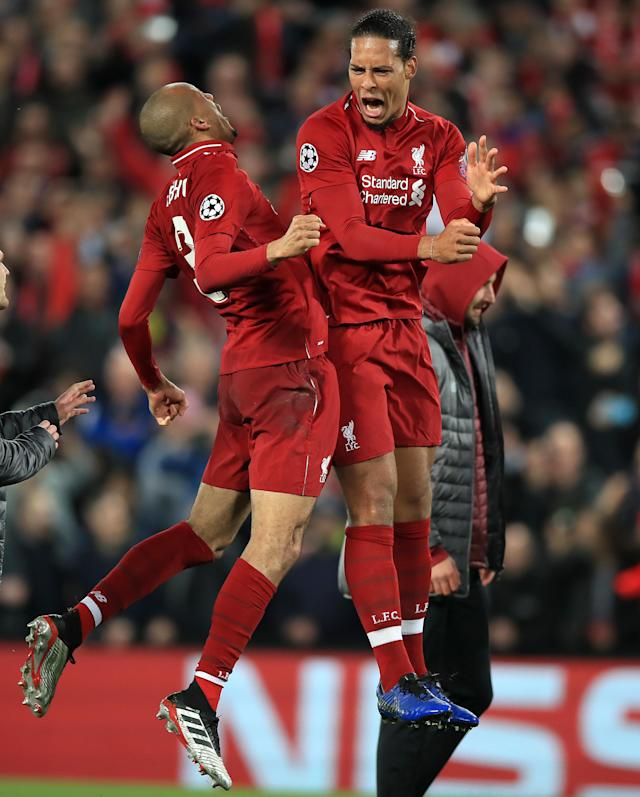Liverpool's Fabinho (left) and Virgil van Dijk celebrate after the UEFA Champions League Semi Final, second leg match at Anfield, Liverpool. (Photo by Peter Byrne/PA Images via Getty Images)