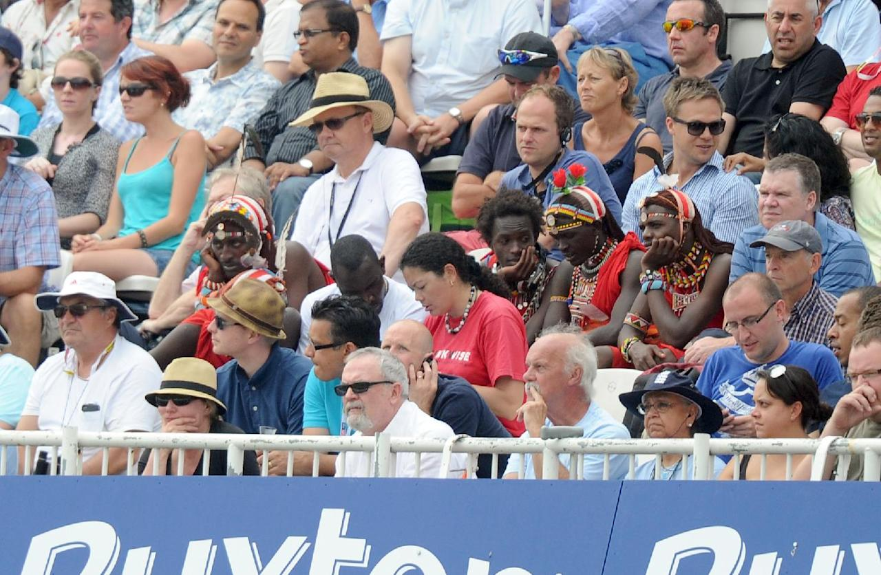Masai warriors watch during day three of the Fifth Investec Ashes Test match at The Kia Oval, London.