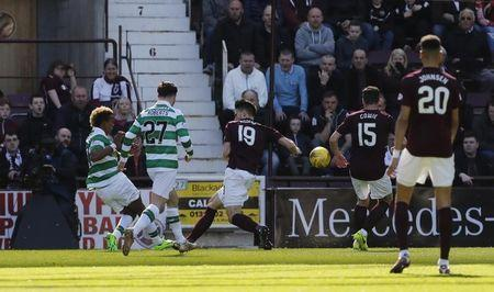 Britain Football Soccer - Heart of Midlothian v Celtic - Scottish Premiership - Tynecastle - 2/4/17 Celtic's Scott Sinclair scores their first goal Reuters / Russell Cheyne Livepic -