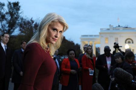 White House counselor Conway speaks with reporters outside the White House in Washington