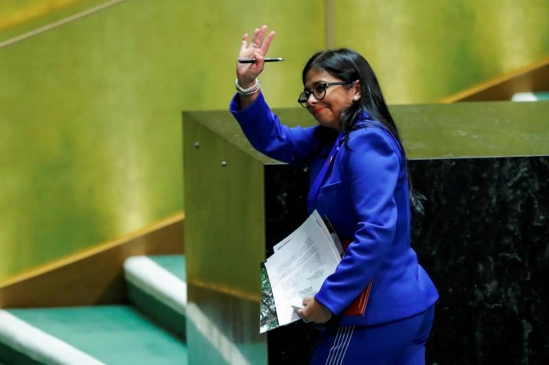 FILE PHOTO: Venezuela's Vice President Rodriguez greets the audience as she departs the podium after addressing the 74th session of the United Nations General Assembly at U.N. headquarters in New York City, New York, U.S.