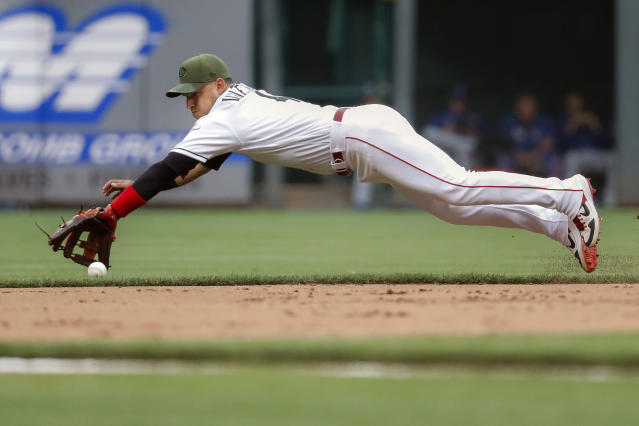 Cincinnati Reds shortstop Jose Iglesias fields a ground ball by Texas Rangers' Tim Federowicz before throwing him out at first in the second inning of a baseball game, Friday, June 14, 2019, in Cincinnati. (AP Photo/John Minchillo)