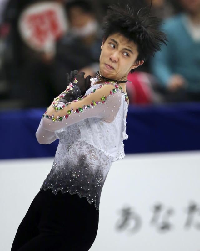 Yuzuru Hanyu of Japan performs during men's free skating at the World Figure Skating Championships in Saitama, near Tokyo, Friday, March 28, 2014. (AP Photo/Koji Sasahara)