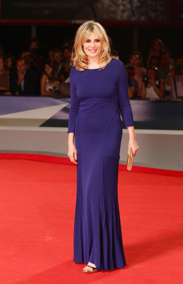 """VENICE, ITALY - SEPTEMBER 08:  Actress Emmanuelle Seigner attends the """"L'Homme Qui Rit"""" Premiere during the 69th Venice Film Festival at the Palazzo del Cinema on September 8, 2012 in Venice, Italy.  (Photo by Vittorio Zunino/Getty Images)"""