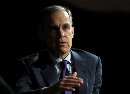 The Governor of the Bank of England, Mark Carney, speaks to the Scottish Economics Forum, via a live feed, in central London