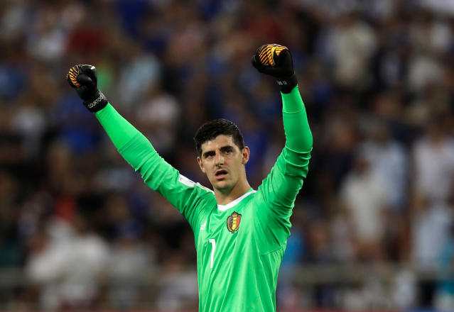 FILE - In this Sunday, Sept. 3, 2017 filer, Belgium goalkeeper Thibaut Courtois celebrates at the end of the World Cup Group H qualifying soccer match between Greece and Belgium at Georgios Karaiskakis Stadium in Piraeus port, near Athens. (AP Photo/Thanassis Stavrakis)