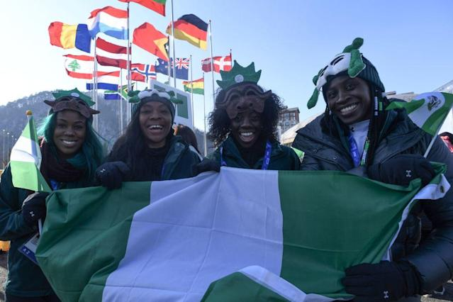 Seun Adigun, Ngozi Onwumere, and Akuoma Omeoga, along with skeleton rider Simidele Adeagbo, will represent Nigeria in the Winter Olympics. (Getty)