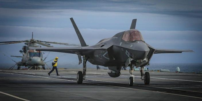 F-35B Joint Strike Fighter on the deck of a carrier