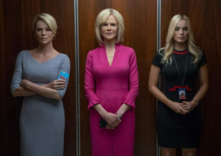"""*****HOLIDAY MOVIE SNEAKS 2019*** DO NOT USE PRIOR TO SUNDAY, NOV 3, 2019.****(L-R)- Charlize Theron, Nicole Kidman and Margot Robbie in a scene from """"Bombshell."""" Credit: Hilary B Gayle/Lionsgate"""