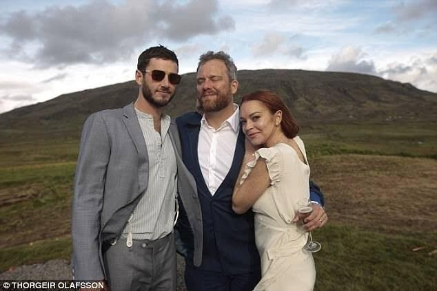 Lindsay Lohan Wears White to a Wedding In Iceland