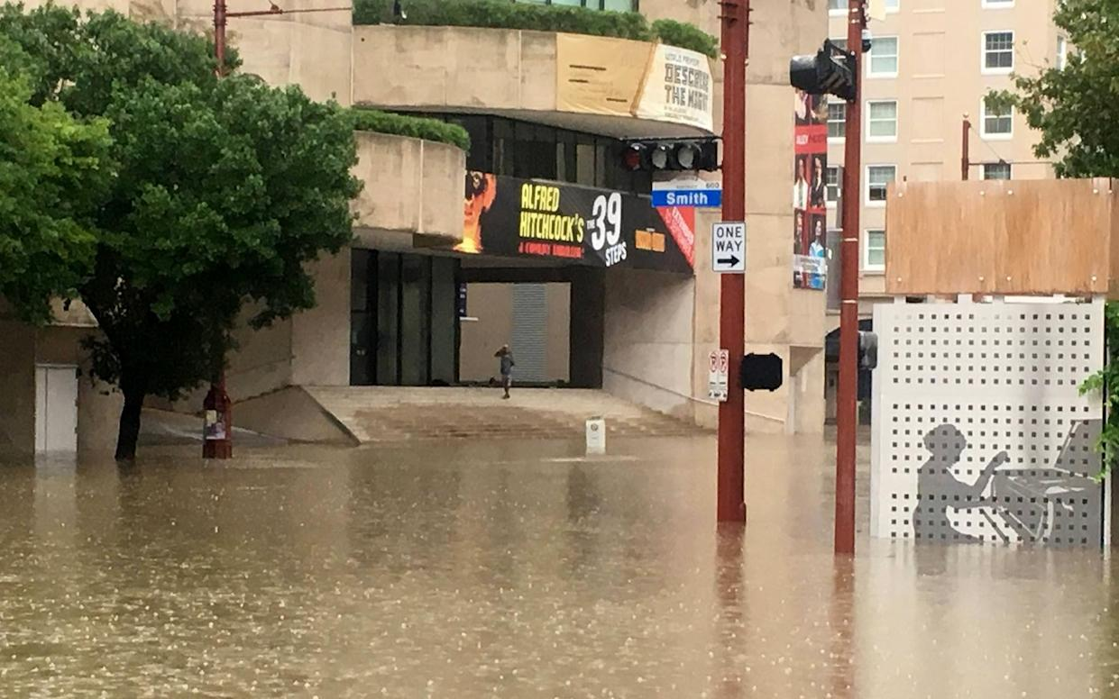 The Alley Theatre at the peak of Hurricane Harvey's rainfall in Houston, Aug. 28, 2017. (Photo: Courtesy of Alley Theatre)