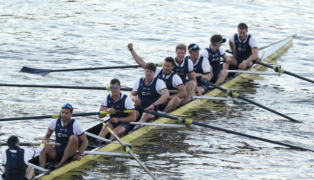 Britain Rowing - 2017 Oxford v Cambridge University Boat Race - River Thames, London - 2/4/17 Oxford crew celebrate winning the Men's Boat Race Action Images via Reuters / Matthew Childs Livepic