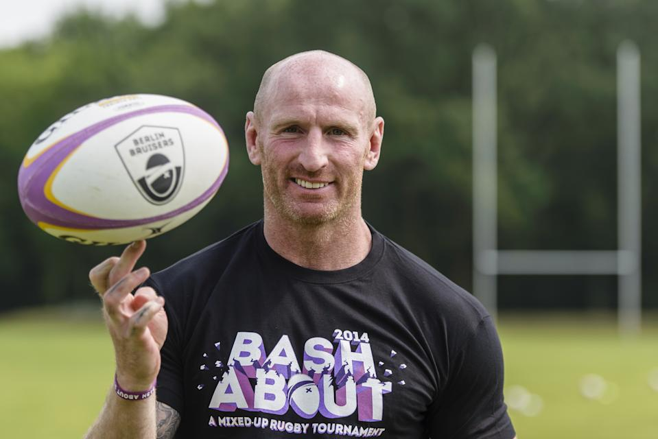 Welsh rugby player Gareth Thomas poses during a training with the Berlin Bruisers on May 23, 2014 in Berlin. Founded in April 2012, the Bruisers have already attracted plenty of support from Berlin's gay community with 500 members and 35 active players training three times a week. AFP PHOTO / CLEMENS BILAN        (Photo credit should read CLEMENS BILAN/AFP/Getty Images)