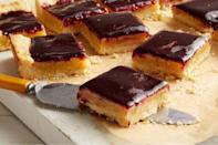 """The short crust base has a pleasant grittiness thanks to the addition of cornmeal, which loves to be partnered with lime. Serve these in a single layer, even right out of the pan, to preserve the shiny tops. <a href=""""https://www.epicurious.com/recipes/food/views/lime-cornmeal-bars-with-blueberry-glaze-56389815?mbid=synd_yahoo_rss"""" rel=""""nofollow noopener"""" target=""""_blank"""" data-ylk=""""slk:See recipe."""" class=""""link rapid-noclick-resp"""">See recipe.</a>"""