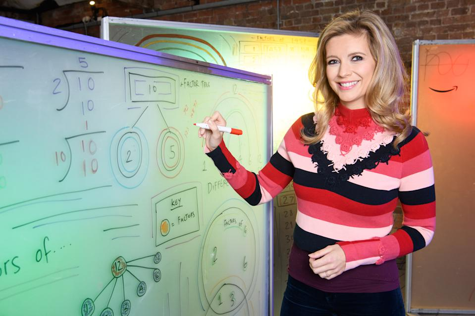 EDITORIAL USE ONLY Rachel Riley brings some festive fun to maths as Amazon launches its Very Important Breakfast (VIB) Clubs, which are online tutorial videos for children, co-hosted by charity partner Magic Breakfast.