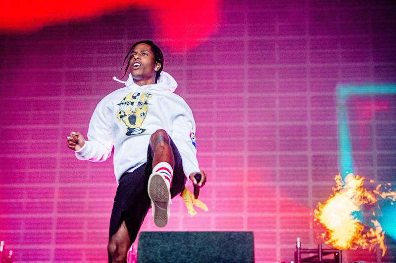 US rapper ASAP Rocky performs on the third day and last day of the 27th edition of A Campingflight to Lowlands Paradise music festival in Biddinghuizen, on August 18, 2019. (Photo by Ferdy Damman / ANP / AFP) / Netherlands OUT (Photo credit should read FERDY DAMMAN/AFP/Getty Images)