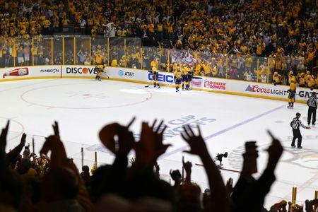 May 22, 2017; Nashville, TN, USA; The Nashville Predators celebrate a goal by center Filip Forsberg (9) in the third period in game six of the Western Conference Final of the 2017 Stanley Cup Playoffs at Bridgestone Arena. Mandatory Credit: Aaron Doster-USA TODAY Sports
