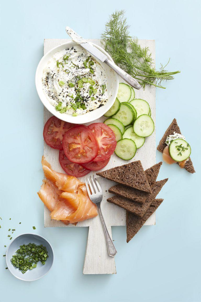 """<p>Let dad customize the bagel of his dreams with this spread of his favorite fixins' including cucumbers, tomatoes and lox.</p><p><em><a href=""""https://www.goodhousekeeping.com/food-recipes/easy/a25657599/everything-bagel-dip-recipe/"""" rel=""""nofollow noopener"""" target=""""_blank"""" data-ylk=""""slk:Get the recipe for Everything Bagel Dip »"""" class=""""link rapid-noclick-resp"""">Get the recipe for Everything Bagel Dip »</a></em></p>"""