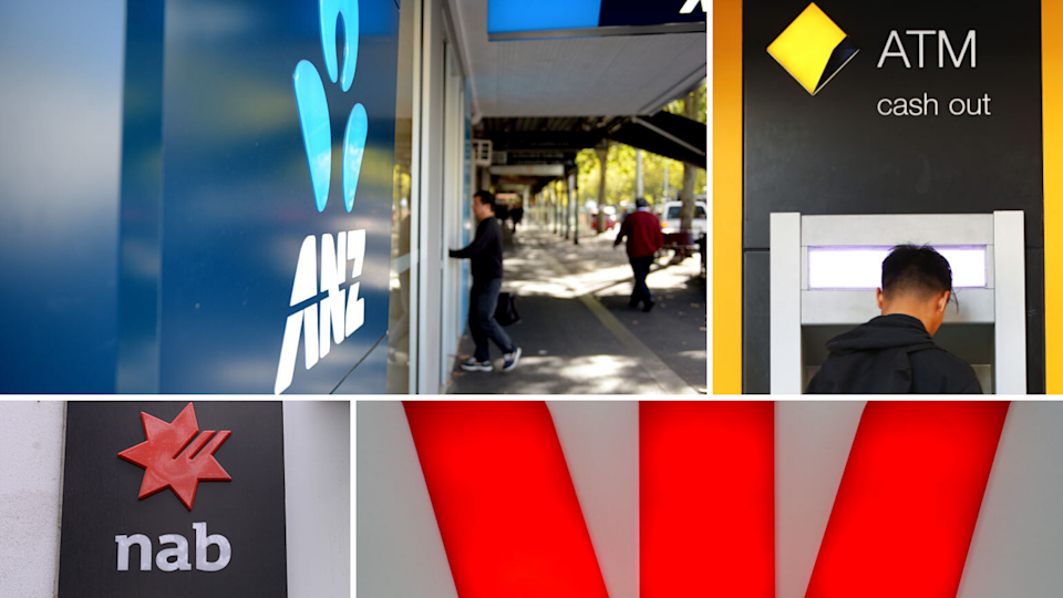 Pictured: Major banks ANZ, CBA, NAB, Westpac logos. Images: Getty