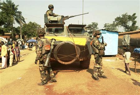 French soldiers patrol on Boy-Rabe, a northern district of Bangui