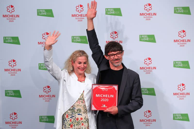 Ana Ros and her husband Valter Kramar celebrate after receiving 2 Michelin stars for their restaurant